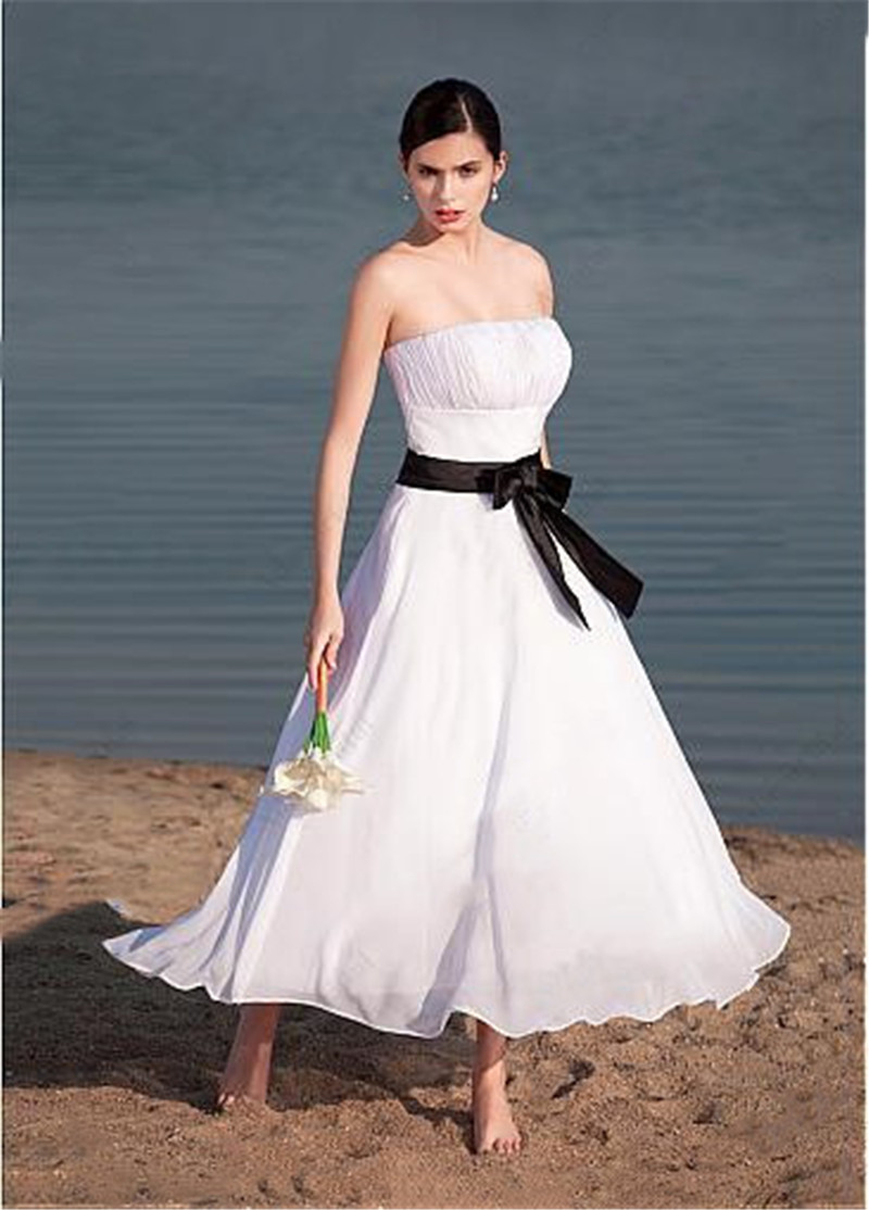 Simple Pleated Chiffon Short Beach Wedding Dresses With Black Ribbon Ankle Length Bridal Gowns Sleeveless Custom Plus Size