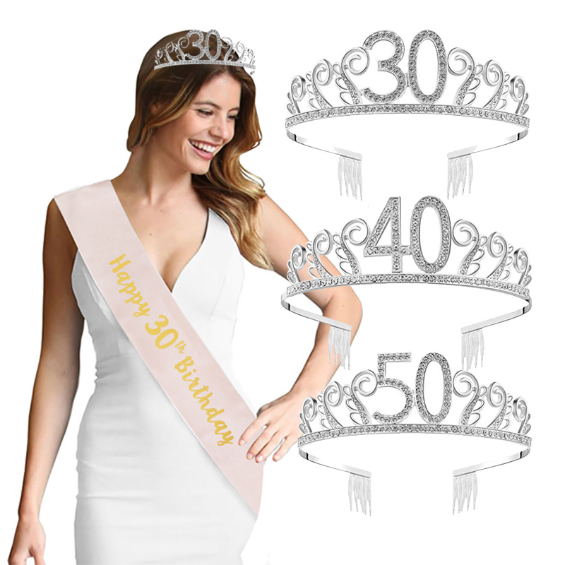 Happy 30th 40th 50th 60th Birthday Party Crystal Crown Headband Adult 30 40 <font><b>50</b></font> <font><b>Anniversary</b></font> Birthday Party Decorations image