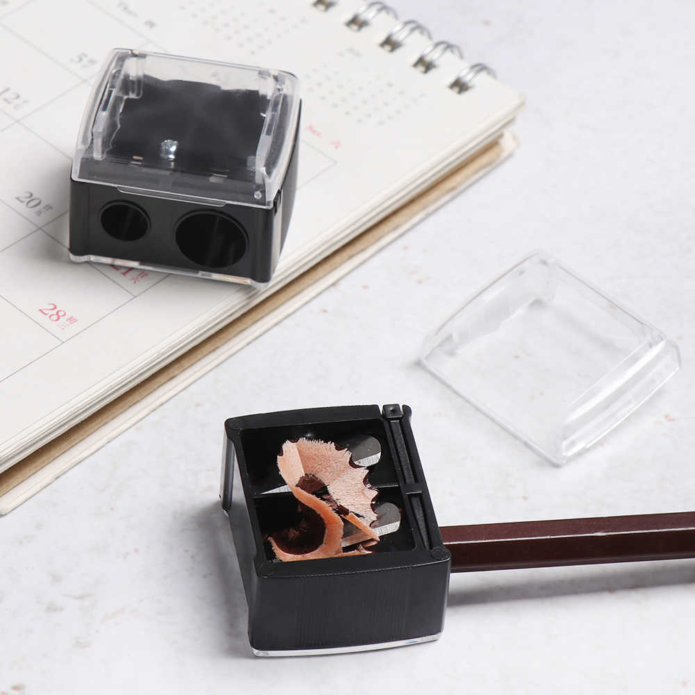 1 قطعة الأسود مزدوجة حفرة براية أقلام أدوات القطع ثقب واحد كوكي شكل ماكياج المباري القرطاسية مكتب المدرسة التموين