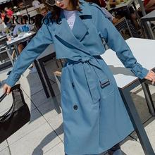 Rubilove Autumn 2019 Turn-down Collar Women's Trench Adjustable Waist Blue Long Sleeve Casual Trench Coat Female Fashion Ladies lapel collar adjustable sleeve trench coat