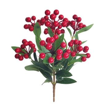 Flor Artificial 7 cabezas planta de simulación fruta roja Acacia grano ramo vacaciones hogar decoraciones navideñas de interior