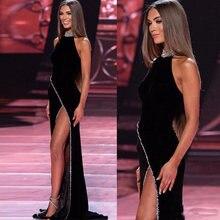 Пикантные черные сапоги Русалка бархатное платье для выпускного