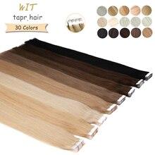WIT 31 цвета ленты в пряди человеческих волос для наращивания на Клейкой Ленте имитирующей кожу на Клейкой Ленте Пряди человеческих волос для ...