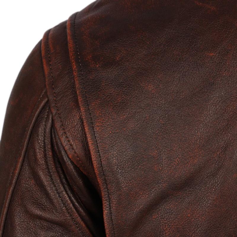 Vintage Distressed Men Leather Jacket Quilted Fur Collar 100 Calfskin Flight Jacket Men s Leather Jacket Vintage Distressed Men Leather Jacket Quilted Fur Collar 100% Calfskin Flight Jacket Men's Leather Jacket Man Winter Coat M253