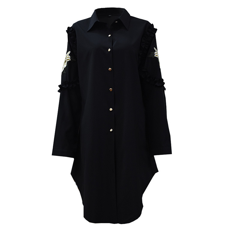 Plus Size XL 5XL Muslim Shirts Women Blouse Embroidery Loose Lace up Tops and Blouses Islamic Clothing Lapel Black Streetwear