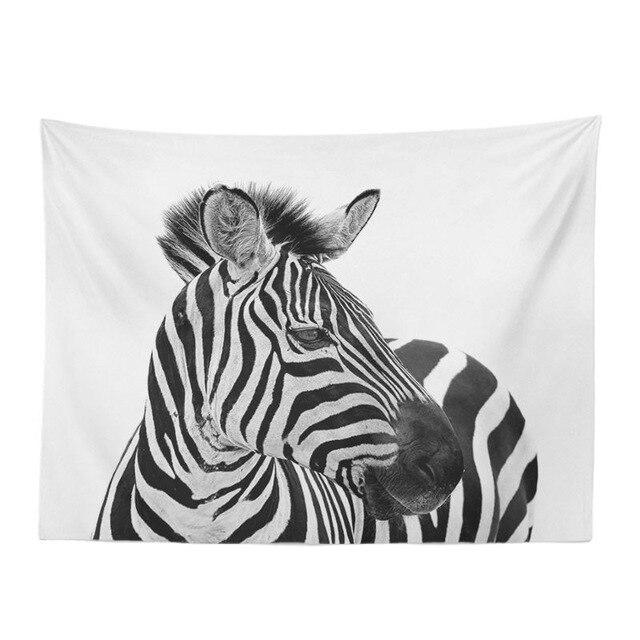 Tapisserie personnalisée à la mode 130*150Cm | Tapisserie en Polyester avec texte zèbre bleu, décoration de la maison, tapis de salon