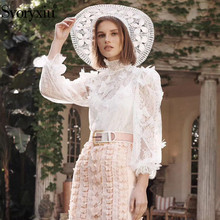 Svoryxiu Sexy Perspective Lace Applique Shirt Blouse Women's Stand Collar Lantern Sleeve Summer White Blouse Female