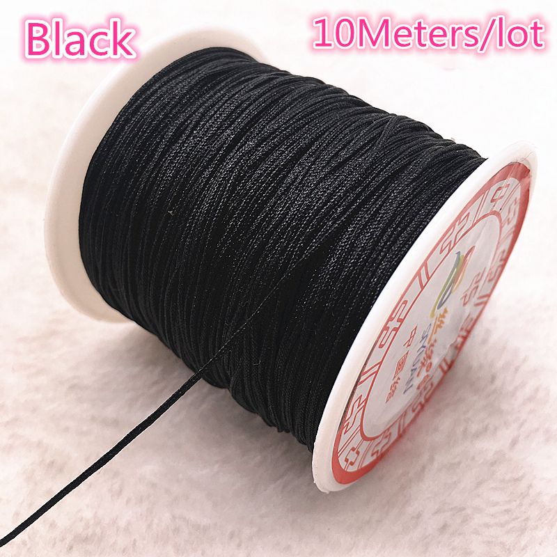 10Meters/lot 0.8/1.0mm Black Nylon Cord Thread Chinese Knot Macrame Cord Bracelet Braided String DIY Tassels Beading Thread
