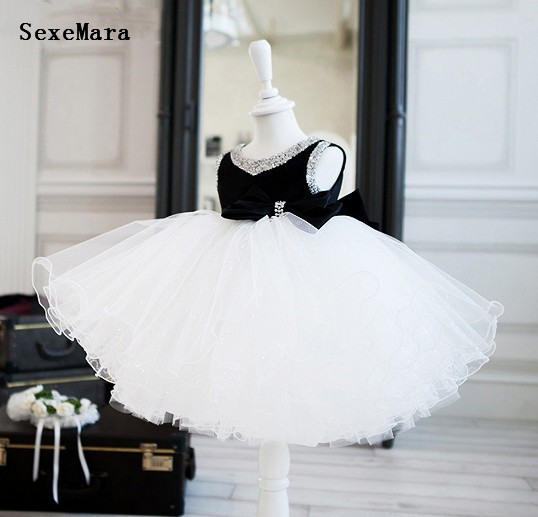 Elegant White and black ball gown tutu   flower     girl     dress   baby infant toddler party   dress   princess beaded bling birthday gown