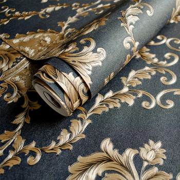 Luxury Black Gold 3D Wallpaper Damask European FloralWall Paper Bedroom Living Room Tv Background Wallpaper Non-woven Fashion high quality american wallpaper 3d rural non woven european style wallpaper luxury retro tv background home living room bedroom