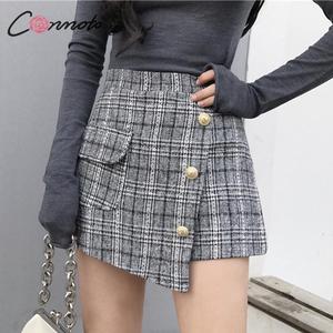 Image 3 - Conmoto vintage plaid autumn winter women skort elegant ladies pockets high waist skorts ladies high fashion OL skirt