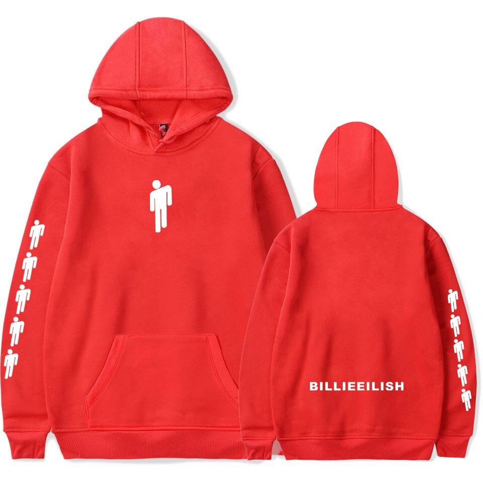 Casual Billie Eilish Popular Red Hoodies Women Men Autumn Pullovers Harajuku Billie Eilish Women's Hooded Sweatshirts Clothing