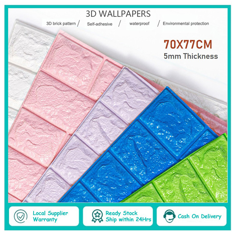 Wallstickers 3D Stone Brick Self Adhensive Wall Stickers Easy Paste and Peel Off Back splash Wall Paper Shelf Paper J8