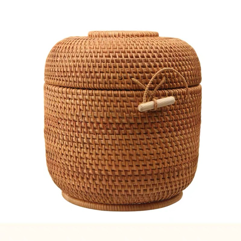 Rattan storage box with lid round shape handmade jewelry boxes organizer Vietnam Rattan weaving tin for puerh tea food best gift