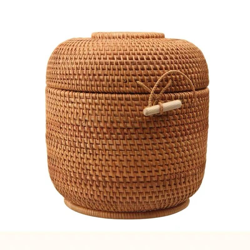 Caja de almacenamiento de ratán con tapa organizador de cajas de joyería hechas a mano de forma redonda Estaño de tejido de ratán de Vietnam para puerh tea food mejor regalo