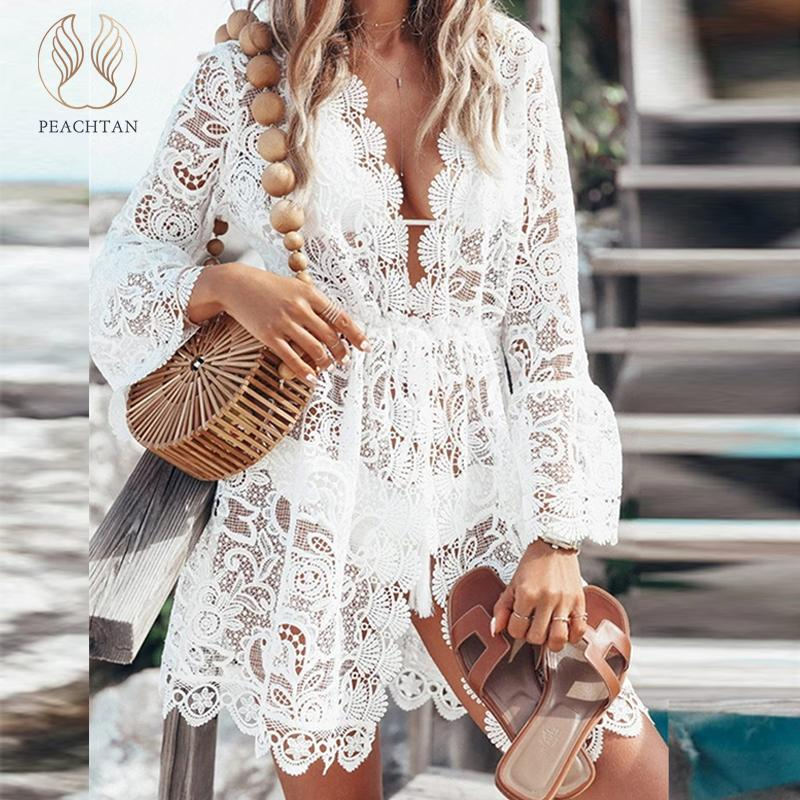 Peachtan Sexy Bikini Cover Up Plus Size Bathers Deep V-neck Swimwear Women 2019 Kaftan Hollow Out Swimsuit Female Lace Cardigan