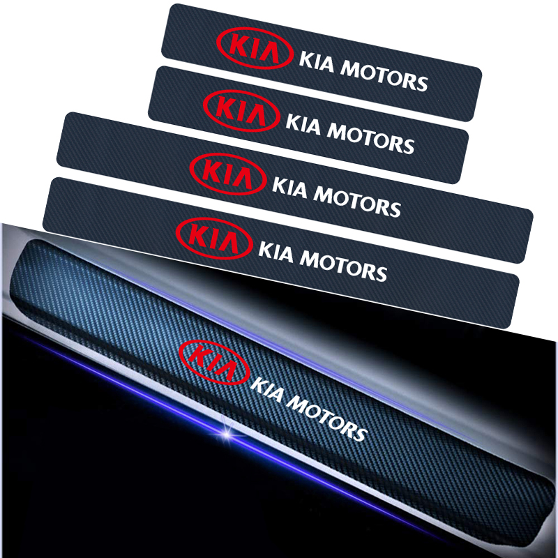 4PCS 3D Carbon Fiber Car Door Threshold Sticker For Kia Sportage 3 4 QL Rio K2 Optima Sorento Picanto Ceed Forte Cadenza K9 Soul