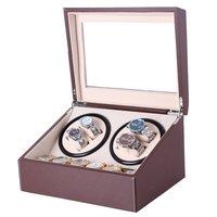 US plug Automatic Mechanical PU Leather Watch Winding Winder Storage Box Collection Display Doblue Head Motor Jewelry Winder Box