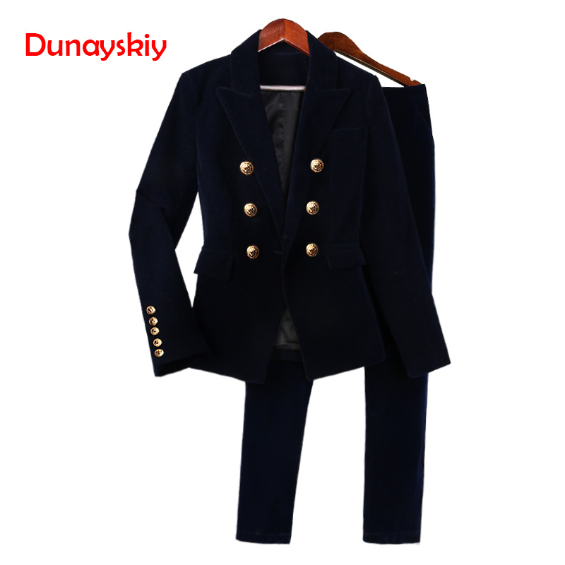 Pant Suits OL 2 Piece Sets Autumn Gold Velvet Suit Jacket Female Slim Was Thin European And American Small Suit Female Suit