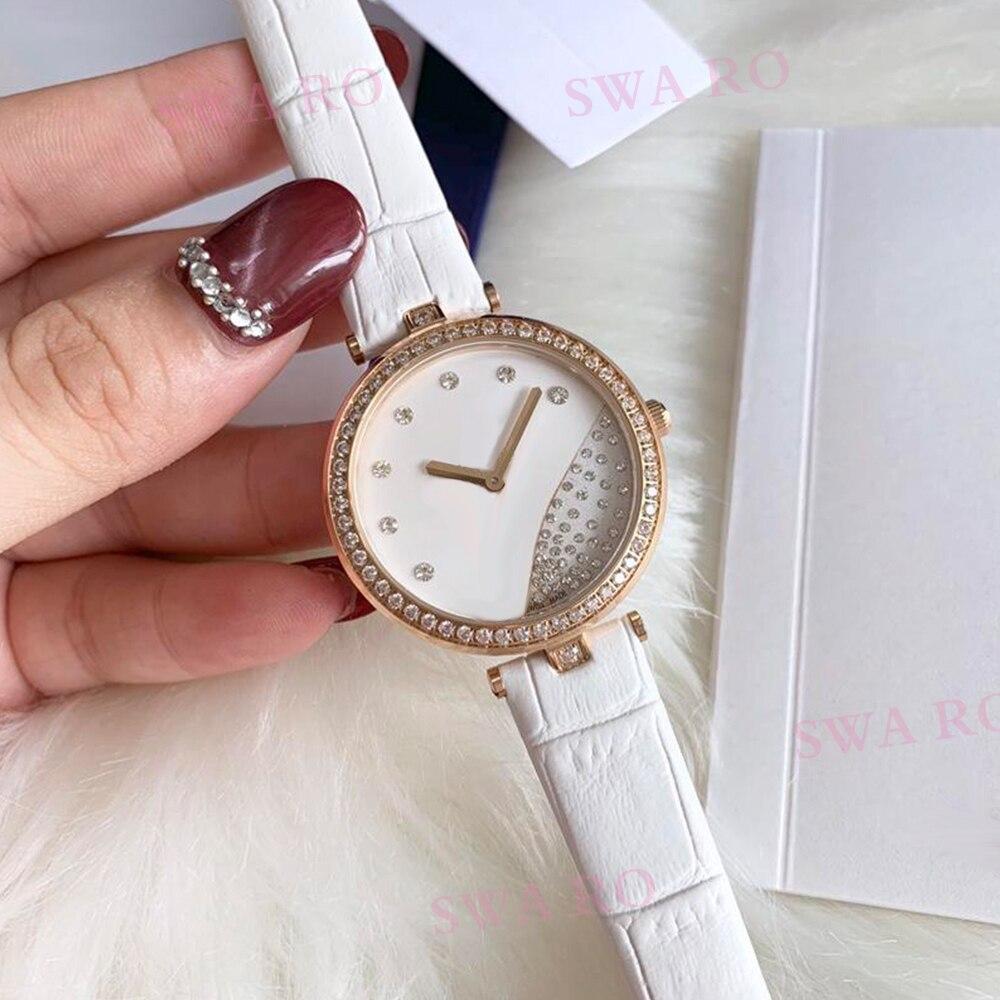 SWA mode nouvelle haute qualité SWA montre en or Rose élégant Crocodile en relief bracelet en cuir blanc montre pour femme en acier inoxydable