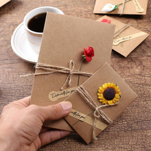 10pcs DIY Kraft Paper Handmade Dry Flower Invitation Greeting Card Birthday mother's day with Envelope 10pcs lot handmade single page paper greeting card birthday party invitation with blank inner page gift card
