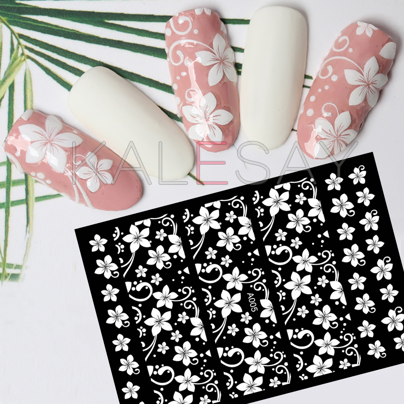 DIY Cute 3D White Flower Nail Sticker Manicure Decals for Design Sticker Self Adhesive Transfer Foil Set of Nail Stickers Wraps