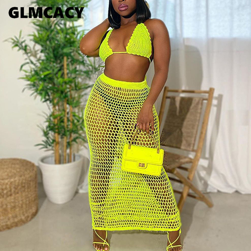 Summer Fishnet Knitted Two Piece Set Women Sexy See Through Night Club Suits Bra Top & Shorts Casual Beach Outfits