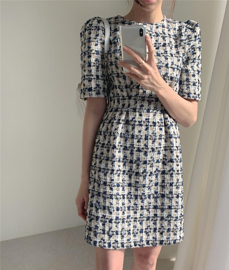 High Waist Casual Puff Sleeve Plaid Elegant Vintage Mini Dress 14