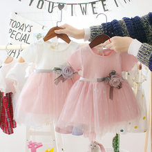 2021 Summer Baby Girls Dress Cute Cartoon Baby Princess Birthday Party Mesh Dresses Costume Toddler Infant Kids Clothing New