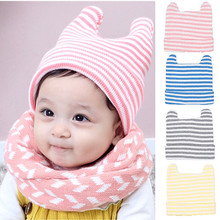 Winter Hats Free Delivery Striped Cowhorn Beanie Hat For Children Boys and Girls Warm Knit Caps Babies 6 Months To 5 Years Old