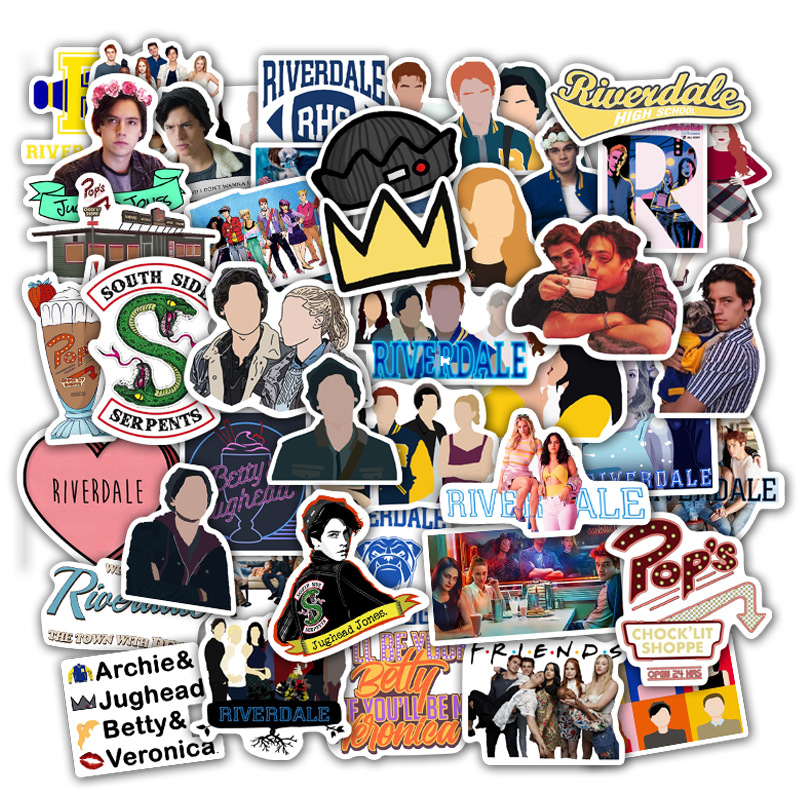 50pcs/set Riverdale Stickers For Laptop Skateboard Home Decoration Car Styling Vinyl Decals Doodle Cool DIY Works