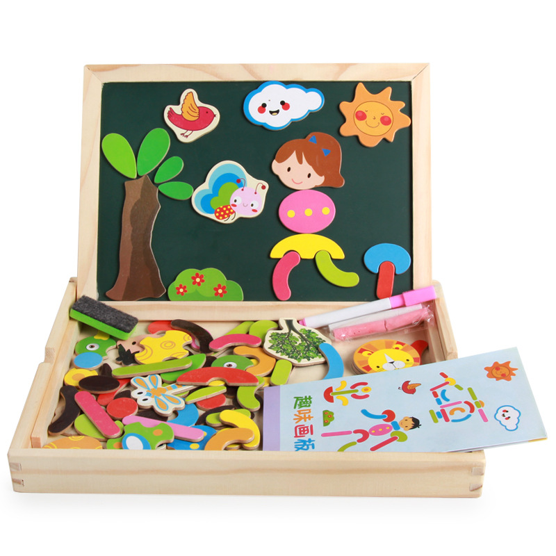 Animal Scene Magnetic Joypin Wooden Double-Sided Fun Drawing Board Creative Children'S Educational Product Painted Magnetic Jigs