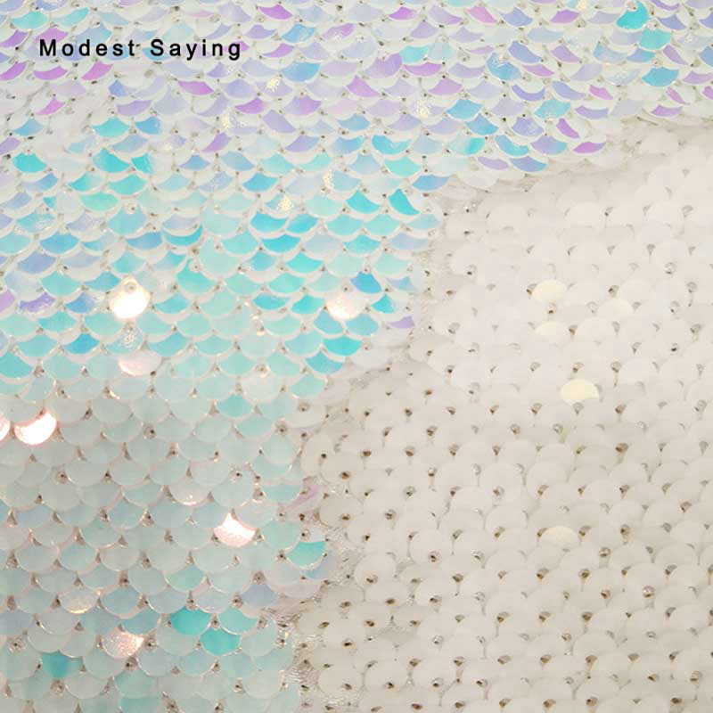 1 Yard Thick Double Face Mermaid Fish Scales Sequins Fabric For Evening Dress Wedding Party Prom Backdrop Symphony Glitter Cloth