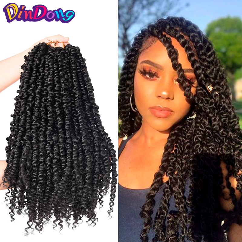 Pre Twisted Passion Twist Crochet Hair 12-18inch Synthetic Ombre Bomb Twist Pre looped Fluffy Spring Twists Braiding Hair image