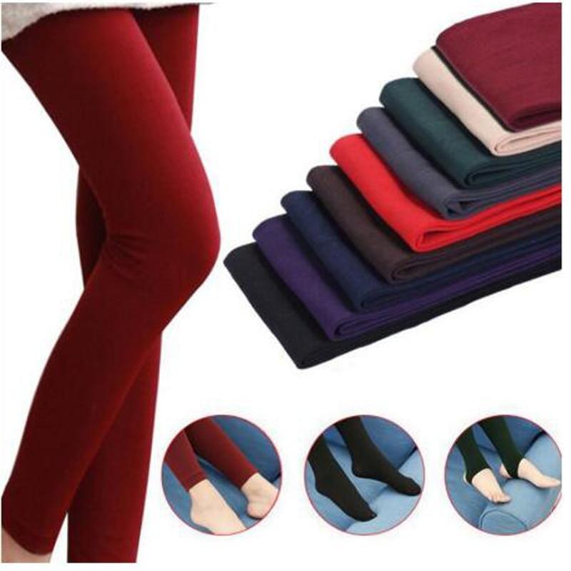 2020 Women Autumn Winter Thick Warm Legging Brushed Lining Stretch Fleece Pants Trample Feet Leggings High Elasticity Leggings