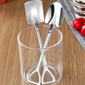 1Pc Creative Metal Ice Cream Coffee Spoon Shovel Shape Shell Tea Spoons 2 Colors Afternoon Tea Dessert Long Handle Spoon