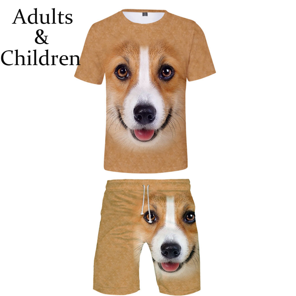 Summer 3D Print Animal Dog T-Shirt+Beach Shorts Two-piece Sets Fashion Hip Hop Boys Girls Suits Casual Children Two-piece Sets