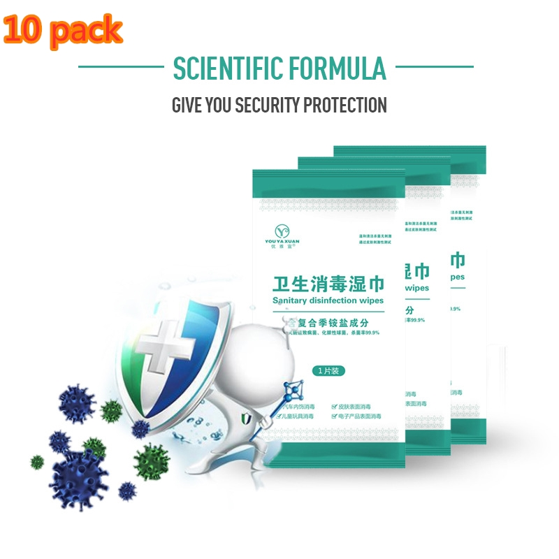 10 Packs Quaternary Ammonium Disinfection Wipes Disposable Surface Disinfection Wet Wipes Portable Antibacterial Wipes TSLM1