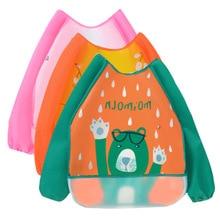 цена на Baby Bibs Bandana Waterproof Cute Boy Long Sleeve Girl Bibs Kids Burp Cloth Infant Pocket Child Apron Smock Self Feeding Stuff