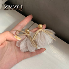 ZYZQ Fashion Korea Personality Exquisite Lace Bow Knot Earrings for Women Girls Female Temperament Jewelry Brincos 2020