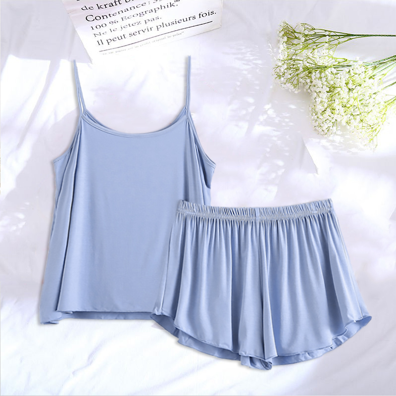 Cotton Pajamas Women Sleepwear Solid Sleeveless Pajama Set Shorts Suits Sexy Nigtwear
