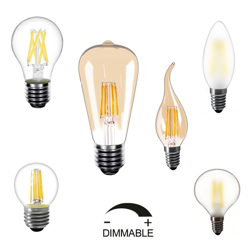 Dimmable 220v LED Filament ampoule 5 pièces/10 pcs/lot E27 LED lampe E14 Edison blanc chaud 2850K Vintage LED ampoules
