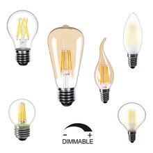 220v Dimmable LEVOU Filamento da Lâmpada 5pcs/10 pçs/lote E27 E14 Edison Da Lâmpada LED Branco Quente 2850K LED Lâmpadas Do Vintage