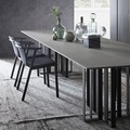 320cm Extra Long Dinner Table with Sintered Stone top and 10x Chairs / Black or Gilding Steel Legs / Man Made Stone