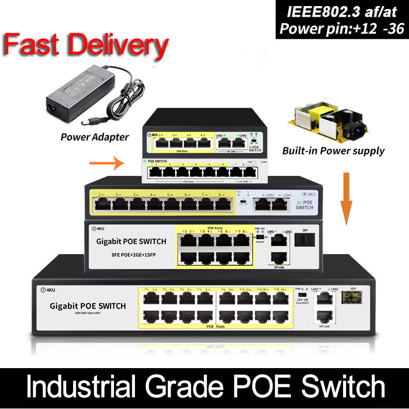 4 port 48V POE switch Ethernet Switch with IEEE 802 3 af at Suitable for IP camera Wireless AP CCTV camera system
