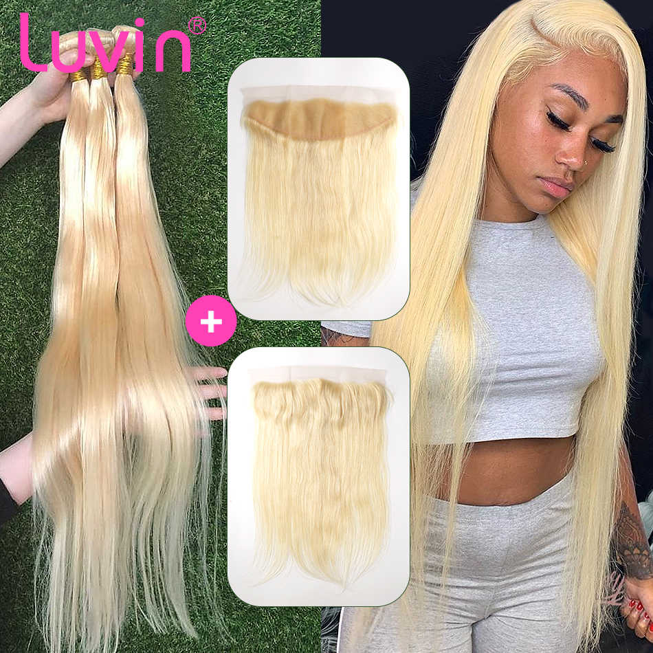 Rechte 28 30 32 34 40 Inch Braziliaanse Remy Human Hair Weave 613 Blond 3 4 Bundels With13x4 Hd Transparant kant Frontale Sluiting