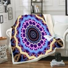 Manta de cama Mandala cubrecamas de flores blancas y negras universo misterioso manta de Sherpa gema ropa de cama Vintage