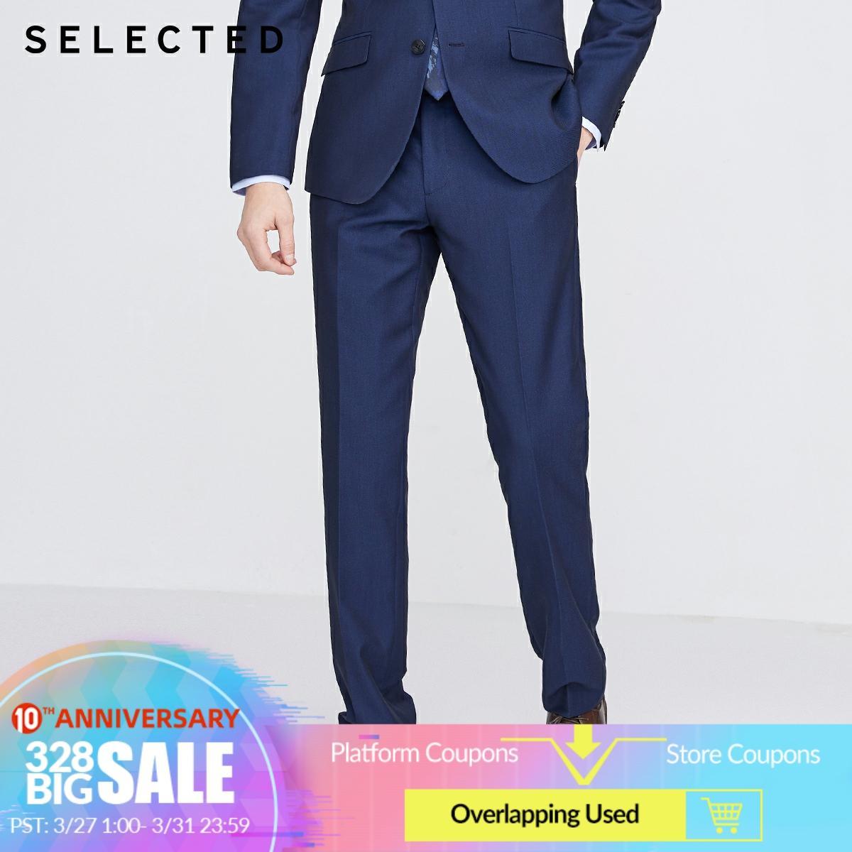 SELECTED Men's Regular Fit Pure Color Suit Pants S|42016A505