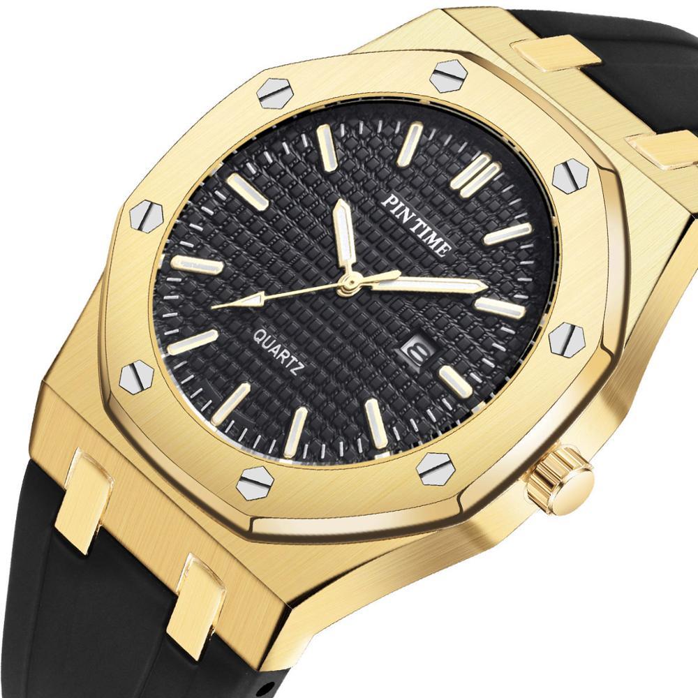 Marca de Luxo Masculino à Prova Legal Preto Esporte Relógio Masculino Silicone Quartzo Militar Relógios Calendário Ouro Dwaterproof Água