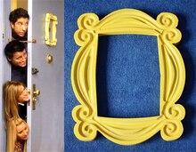 Telewizor z dostępem do kanałów serii przyjaciółmi rama z drewna ręcznie wykonana z żółtego Mon drzwi wizjer obraz ramki na zdjęcia Home Decor kolekcja prezent urodzinowy